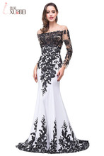 100% Real Photo Elegant Black &White Mermaid Prom Dresses Sheer O-neck Long Sleeves Formal Prom Evening Gown Floor Length