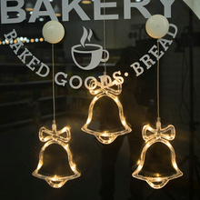 6.3*7.5 inch Glass Window Sucker Lamp for Store Home Christmas New year Bell/Angle/Deer/Star/Tree LED Christmas Decorative Light(China)