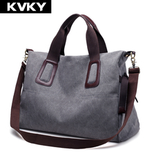 Buy KVKY Brand Canvas Women Handbags Casual Large Capacity Female Totes Hobos Solid Shoulder Bag Vintage Women Crossbody Bags Bolsas for $19.78 in AliExpress store
