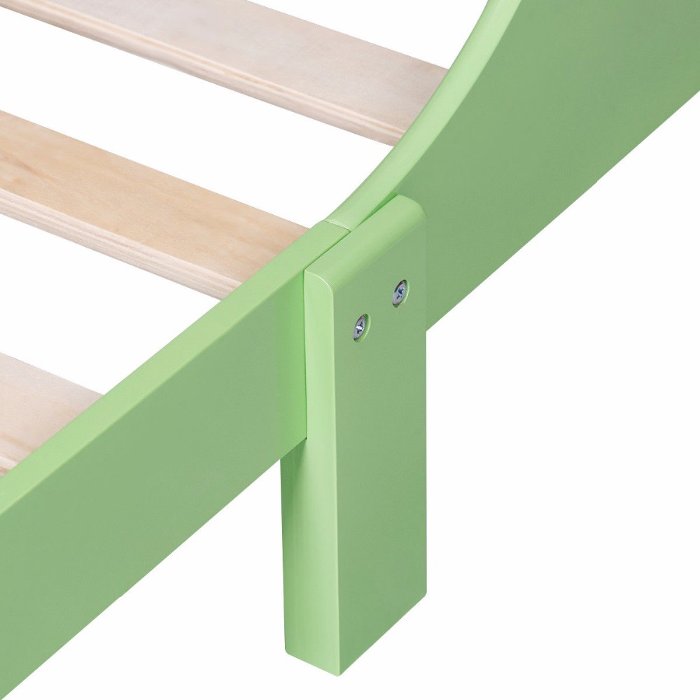 Crayon Themed Wood Kids Bed with Bed Rails for Toddlers and Children Colorful Bedroom Furniture Baby Wooden Beds