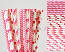 100pcs Drinking Party Paper Straws Mix,Hot Pink Polka Dot,Chevron,Heart,Striped,Valentines Day,Wedding,Straws for Cocktails Bulk
