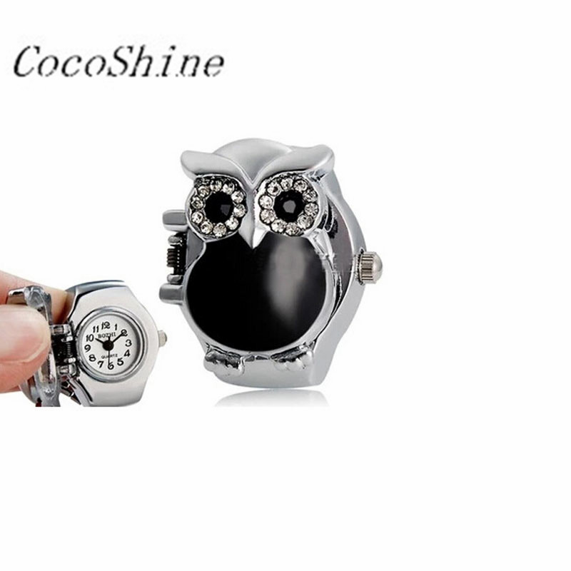 CocoShine A-912 New Hot Creative vogue luxury Leisure Fashion Retro Owl Finger Watch Clamshell Ring Watch wholesale<br><br>Aliexpress