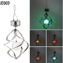 ICOCO 1pcs Outdoor Solar Powered Wind Spinner LED Color Changing Street Light for Garden Coutyard Hanging Spiral Lamp Decor Sale(China)