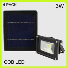 Manufacturer 4 PACK solar 3W LED flood light wall lamp led spotlights outside waterproof 2000MAH Li-ion battery courtyard garden