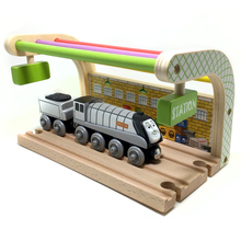 free shipping Special offer Multicolored Double track station and spencer wooden train compatible with Thomas train track(China)