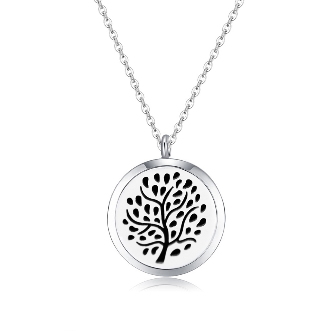 10pcs Mesinya silver color new design tree  (30mm)Aromatherapy / Essential Oils 316L S.Steel Perfume Diffuser Necklace