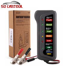 12V Car Motorcycle Battery Alternator Tester with 6 LED Lights Display Universal Battery Testing Tool Car Detector
