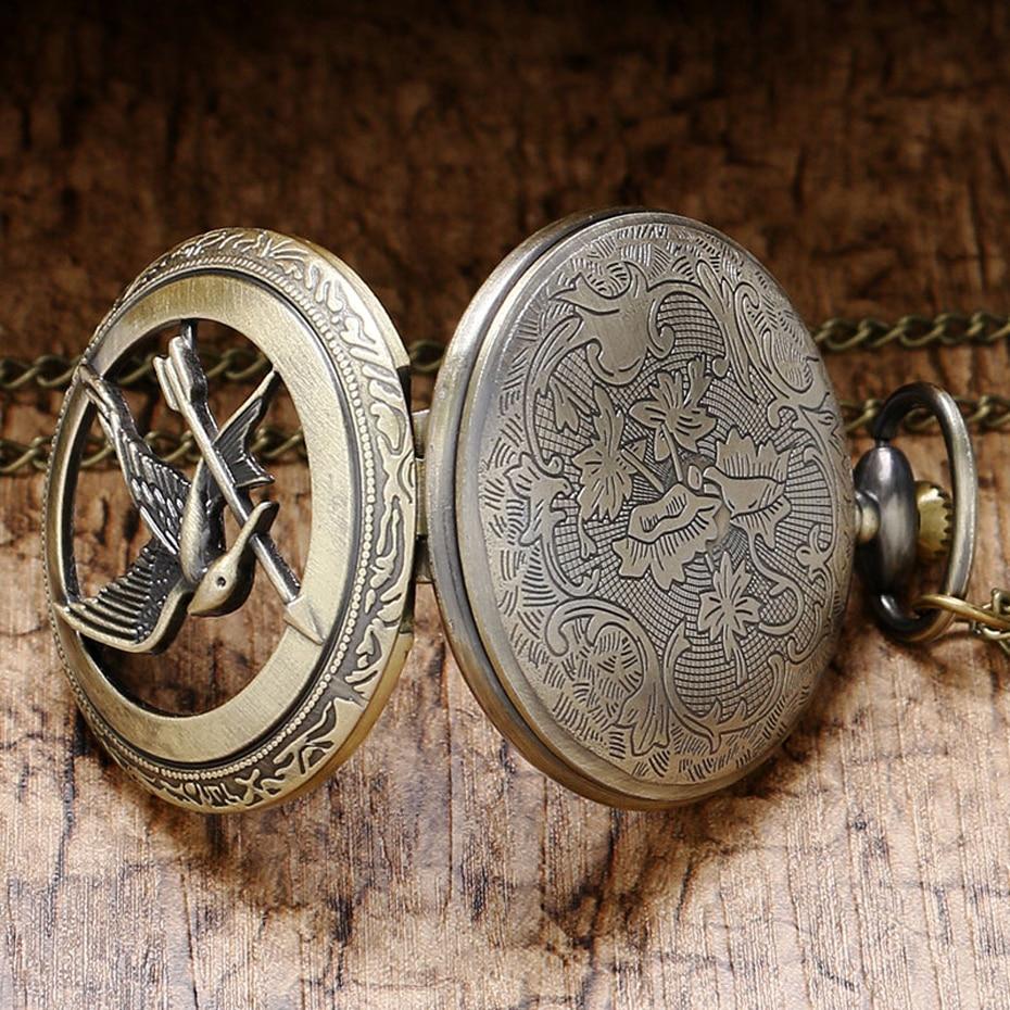 Retro Quartz Watch The  Theme Hollow Bronze Pocket Watch Bird Design Men Women Clock Vintage Pendant Gifts (4)