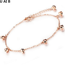 Hot new jewelry titanium rose gold color anklet Institute of wind bell female foot titanium ankle bracelet for women(China)