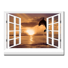 3d effective windows fish Wall Painting pictures Home Decorative Art Picture Paint on Canvas Prints wall painting no framed