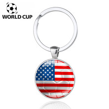100pcs USA World Cup Football Keychain American Flag Soccer Club Fans Key Ring Car Keychains Pendant Keyfob Souvenir Gift 2018(China)
