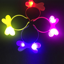 Free shipping 30pcs/lot Blinking butterfly Headbands LED Light Up Flashing butterfly Head Band Party Hair Accessories New Year(China)