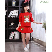 Child Clothing 2017 Spring and Autumn Girl  Miniskirts Baby Superior quality Casual suits Child Teddy Bear Design Sports Clothes