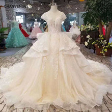 LS11098 champagne lace wedding dresses o neck see-through back wedding gown  more layers with shiny long train Shopping Festival 8c939545235a