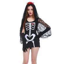 Halloween Costumes for Women Black Skull Skeleton Vampire Zombie Corpse Bride Costume Fantasia Cosplay Dress for Adult Woman(China)