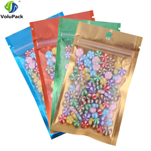 New 100pcs Many Size Tear Notch Flat Pouches Translucent Orange Blue Green Gold Mylar Foil Zip Lock Stock Bag with Hang Hole(China)