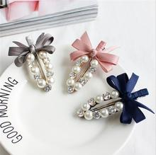 Buy New Ribbon Bow Pearl Barrettes Women Hair clips Pearl Flower Hair band Crystal Hairpins Clips Hair accessories lady for $1.30 in AliExpress store