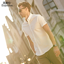 Enjeolon brand short sleeve Men Shirt,Slim Blouse clothing,Base black 2 color solid cotton Shirt for Men Clothes free ship C2226(China)