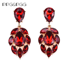 PPG&PGG 2016 New Colorful Flower Big Brand Design Luxury Starburst Pendant Red Crystal Stud Gem Statement Earrings Jewelry
