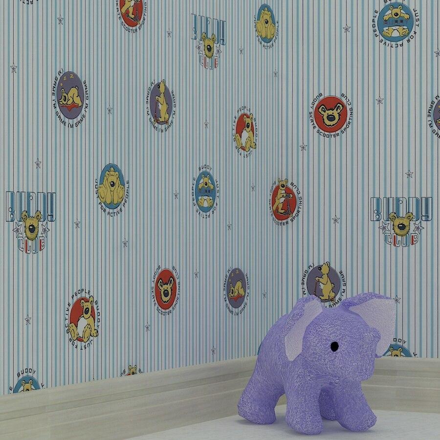 Modern Cartoon Children Room Wallpaper Roll Pooh Cartoon Wallpaper For Kids Room Streak Background Child Wallpaper Paper Roll<br>