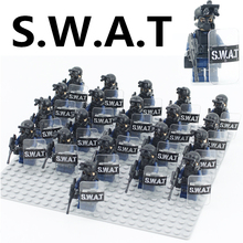 Single Sale Military Modern SWAT Figure Police with Shield Weapon Bricks building blocks set Model Toys for Children(China)