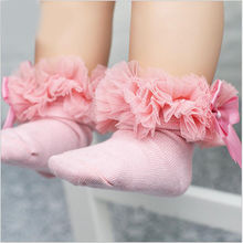 2-6Y Kids Tutu Socks Short Baby Girls Socks Princess Silk Ribbon Bowknot Lace Ruffle Cotton Ankle Socks Photography Props D30(China)