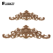 RUNBAZEF European Style Real Wood Long Floral Carving Applique Home Decoration Accessories Door Cabinet Furniture Figurines