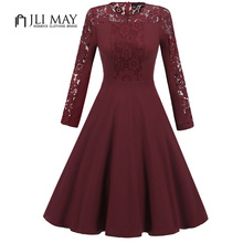 Buy JLI MAY Vintage long sleeved lace dress women o-neck patchwork black burgundy slim autumn womens clothing elegant party dresses for $32.84 in AliExpress store
