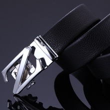 The new 2017 men's fashion boutique cowskin leather gold silver automatic agio formal business belts / Male black leisure belts