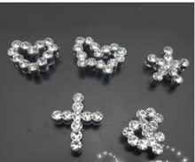 50pcs-100pcs 8mm Mixed Style Shape Big Rhinestone Slide Charms Can Through 8mm Pet Dog Tag Collar Bracelet Belt