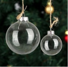 Wholesale Christmas Glass ball Clear bauble Ornament  Xmas Decoration Pendant Wedding DIY party  Event  Memory ball