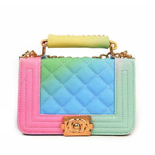 Gradient Rainbow Color Bag Caviar PU Leather Chic Women Handbages Lady Quilted Shoulder Bags Sac A Main Handtassen Dames Tassen(China)