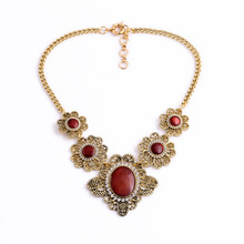 Ancient Metal Floral Red Necklace Bib Valentine's Day New Design Jewellery