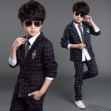 fashion boy blazer suit set plaid red&navy blue cotton blazer for 4-12years boys male kid children causal suit clothes hot sale