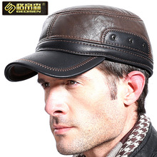 New Arrival Elderly Men Outdoor Cap Adult Cashmere Leather Hat Male Winter Flat Peaked Cap Father Hat New Year Gift B-7224(China)