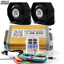 400W Police Siren Electronic Horn Car Alarm Siren AS830 Host Ultra Slim Speaker Kit 9 Tone Loudspeaker Wireless Car Styling