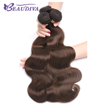 BEAUDIVA Pre-Colored Human Hair Weave Brazilian Body Wave 4# Colored Medium Brown Hair Weaving(China)