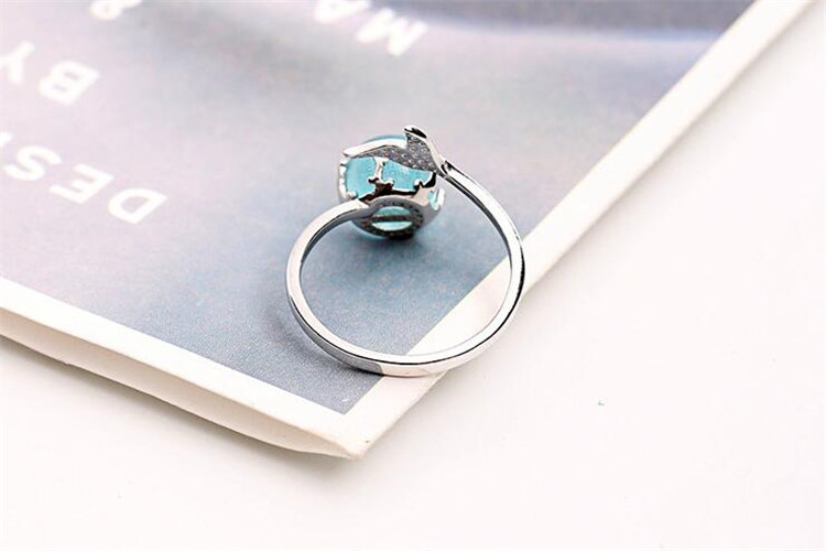 100% 925 Sterling Silver Blue Crystal Mermaid Bubble Open Rings