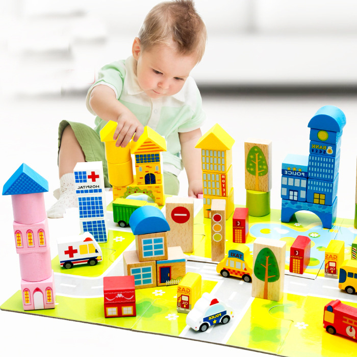 62PCS Pack Wooden Building Blocks Enlighten Bricks City Building Blocks Toys Early Baby Educational Wooden Toys JM68<br>