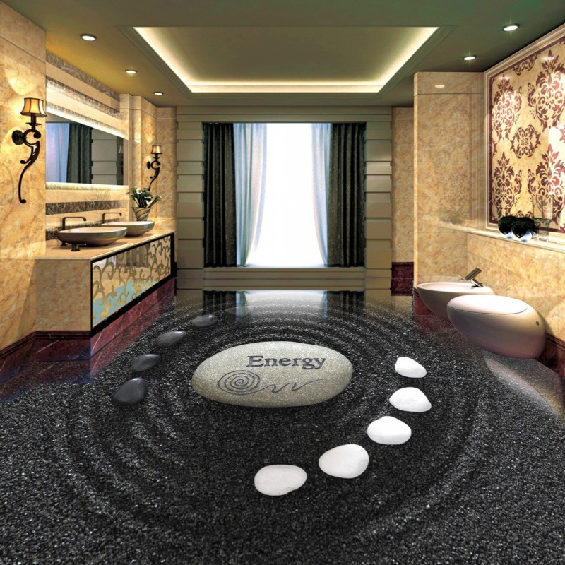 Free shipping custom Cobblestone bathroom flooring self-adhesive home decoration floor living room 3d wallpaper mural<br><br>Aliexpress