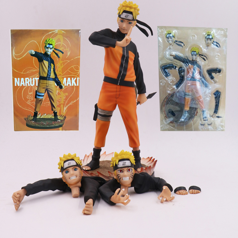 3Pcs Face 3 Pairs Hands Anime GECCO Naruto Shippuden Uzumaki Figure PVC Action Figures Collectible Model Toy 26cm Boxed<br>