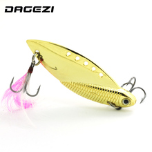 DAGEZI New Gold/Silver Metal Spinner Spoon Fishing Lure with feather Hard Baits Sequins Noise Paillette Treble Hook Tackle(China)