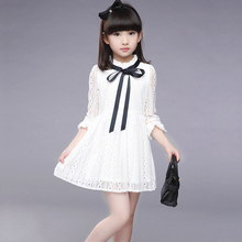 2017 Girls Dress New Summer Children Hollow Out Lace Princesess Solid Cute Party Junior School KIds Clothes Baby Dress()