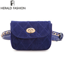 Herald Fashion Lint Women Waist Belt Bag Chain Belt Pack Waist Bag Plaid Small Women Bag Travel Bag Waist Pack Bolsas