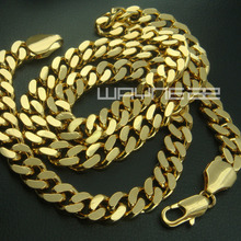 Gold color men solid chain long Necklace  N227