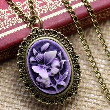 Vintage 3D Butterfly Flower Pocket Watch With Necklace Chain  For Women Ladies Girls Free Drop Shipping