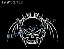 YX Free shipping rhinestone motif transfer image for cloth in China market in white clear crystal cool skull item shining(China)