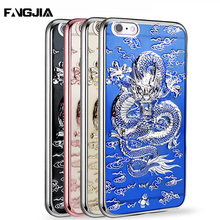 TPU Plating 3D Stereo China Lucky Dragon Cloud Fundas Case Soft Silicone Phone Bag Cover For iPhone 6 6S 7 7 Plus Coque Capa