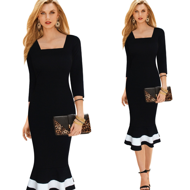 Womens Elegant Vintage Black White Print Pinup Stretch One Piece Dress Suit Casual Party Bodycon Fit Mermaid Midi Mid-Calf Dress