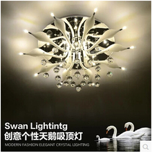 Continental Ceiling LED lamps creative Swan Crystal Ceiling lighting remote control switch